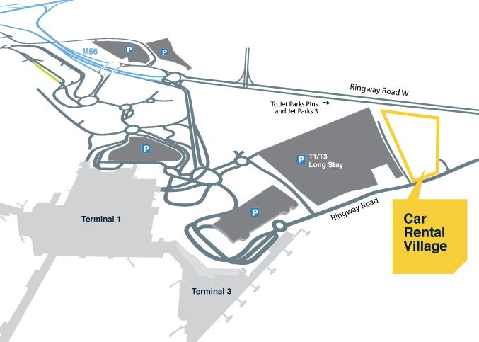 Manchester Airport Car Rental Village Map