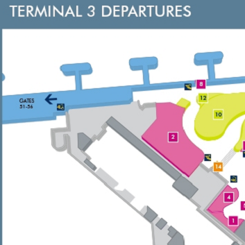 Terminal 3 Departures Manchester Map
