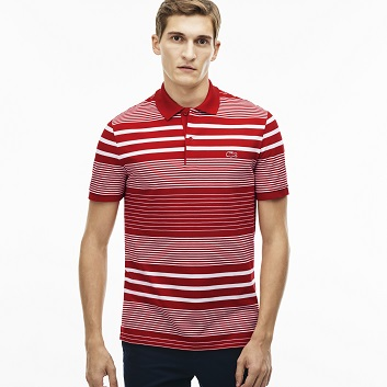 MEN'S LACOSTE SLIM FIT STRIPED COTTON MINI PIQUÉ POLO