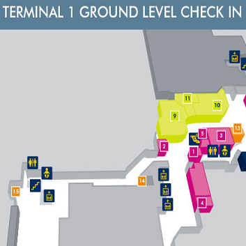 Terminal 1 Ground Level Check In Manchester Map