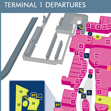 Terminal 1 Departures Manchester Map