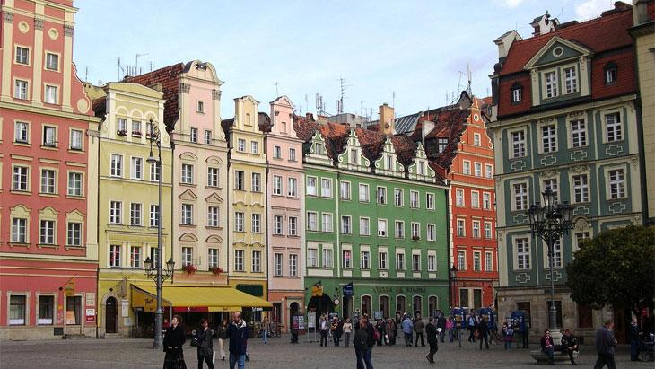 Wroclaw multi-coloured facades